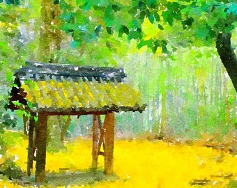 Autumn Temple Original Watercolor Brush Illustration Painting