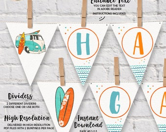 INSTANT DOWNLOAD - EDITABLE Surf Birthday Wall Banner - Summer Surf Party decorations Surf bunting Surf party decor pennant banner