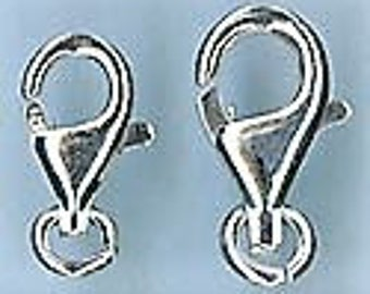 New! Sterling Silver Lobster Clasps, 9mm long - Choose a Quantity
