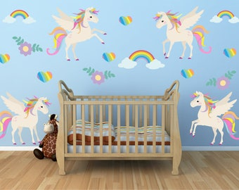 Unicorn Wall Decal, Nursery Wall Decal,  Reusable Non-toxic NO PVCs, WD72