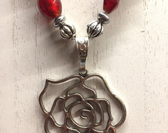 Red, White, and Black Glass Beaded Necklace with Silver Rose Pendant