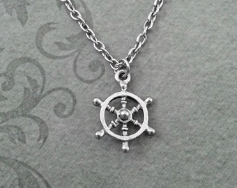 Ship Wheel Necklace, SMALL Ship Necklace, Pirate Necklace, Ship Jewelry, Long Distance Relationship, Travel Necklace, Boat Wheel Necklace