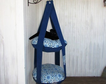 Outdoor Cat Tree, Pacific Blue & Osbourne, 2 Level Kitty Cloud Cat Bed, Hanging Cat Bed, Pet Furniture, Cat Tree, Catio Furniture