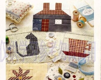 """PATCHWORK QUILT PATTERN-""""Patch-Quilt-Heart Warming Life Series""""-Japanese Craft E-Book #415.Bag-Blanket-Coaster-Tea Time Set-Pillow Cover."""