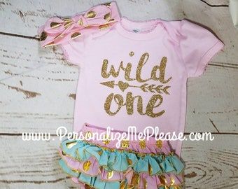 First birthday outfit, baby girl wild one birthday outfit, ruffle bloomer