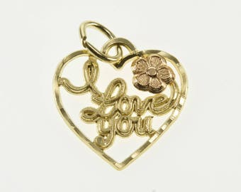 14K I Love You Cursive Flower Accented Heart Charm/Pendant Yellow Gold