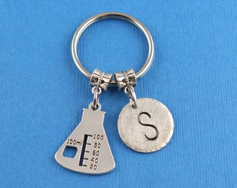 Erlenmeyer Flask Keychain/Gift For A Mad Scientist/Custom Personalized Keychain/Geeky Gifts Under 20 Dollars/Nerdy Gifts Under 25 Dollars