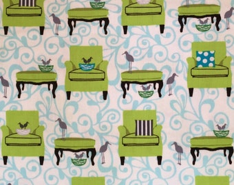 Robert Kaufman fabric, Perfectly Perched, chairs, meadow, green