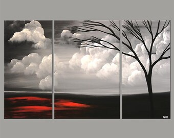 """Large Abstract Landscape Original Acrylic Painting Black, Red, Gray Painting by Osnat - MADE-TO-ORDER - 60""""x36"""""""