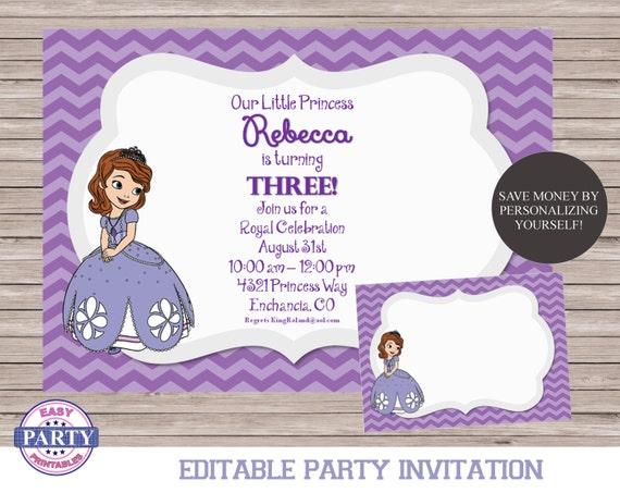Sofia the first editable birthday invitation purple chevron solutioingenieria Images