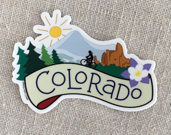 Colorado Vinyl Sticker / Breckenridge Mountains / Columbine Flower / Colorado State Gift / Garden of the Gods / Cool Water Bottle Sticker