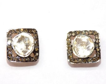 Diamond Polki Stud Earring with Champagne Diamonds in .925 Sterling Silver