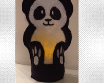 Panda Bear Flameless Tealight Cover - ITH - embroidery design - instant download - 4x4 hoop - In The Hoop