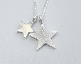 Silver star necklace / Sterling silver star pendant / Two stars necklace / Everyday necklace / simple modern / Inspirational / Boho