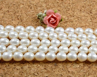 AA+ Grade Pearl, 8 to 9mm, Natural Pearl, 0.8mm Hole, Natural White, High Luster Pearl, Oval Shape
