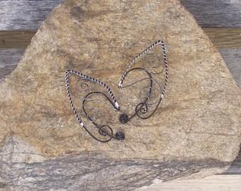 Elf Ear Cuffs - Black Gray Silver - Elven Jewelry - Pixie Ears - Fairy Ears - Faery Ears