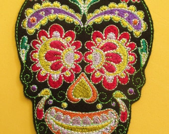 No. 4 Large Embroidered Black Sugar Skull Applique Patch, Iron On, Sew On, Biker Patch, Tattoo, Day of the Dead, Dai de los Muertos, Mexico