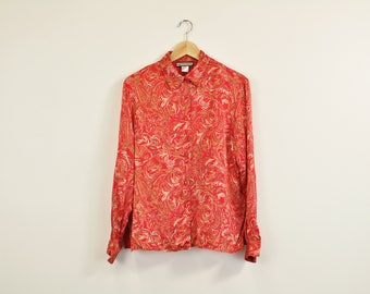 90s Silk Blouse, 90s Print Blouse, Vintage Red Blouse, Abstract Print Blouse, Elegant Blouse, Fall Blouse, Long Sleeve Button Up Shirt