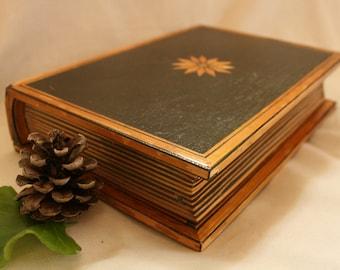 Wooden Book Box, Vintage Wooden Box, Book Shaped Box, Wooden Jewelry Box, Wooden Box, Jewelry box, Treasury box, Trinket box, Decorative box