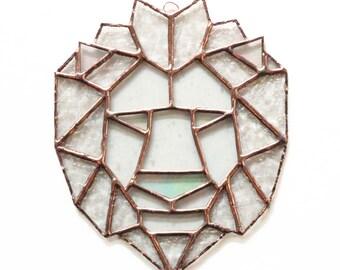 Geometric Lion Stained Glass Suncatcher, Geometric Art, Geometric Stained Glass, Stained Glass Lion, Geometric Lion