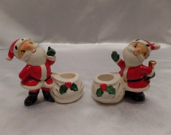 Pair of 1958 Holt Howard Santa Claus with Bags Porcelain Taper Candle Holders -Holt Howard, Made in Japan