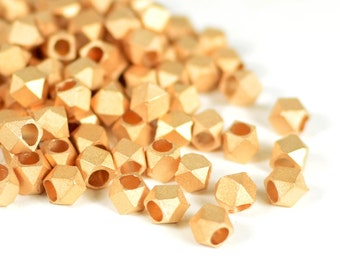 Rose Gold Beads, 4.5mm, Matte Brushed Beads, Tarnish Resistant Beads, Diamond Cut Beads, Brass Beads, 3mm Hole