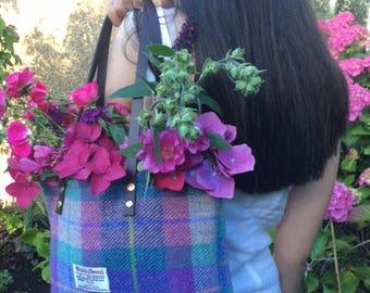 Purple Harris tweed tote bag purse handbag tartan purse gift for her womans gift girlfriend gift Scottish