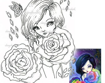 Petals of Rainbow - Digital Stamp Instant Download / Fantasy Rose Fairy Girl Art by Ching-Chou Kuik
