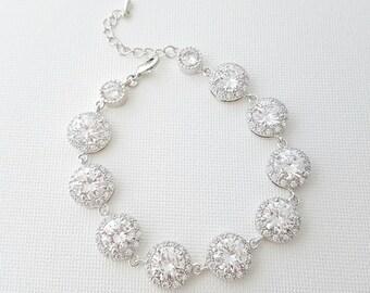 Crystal Bridal Bracelet, Wedding Jewelry, Cubic Zirconia, CZ Bracelet, Crystal Wedding Bracelet, Bridal Jewelry, Evita