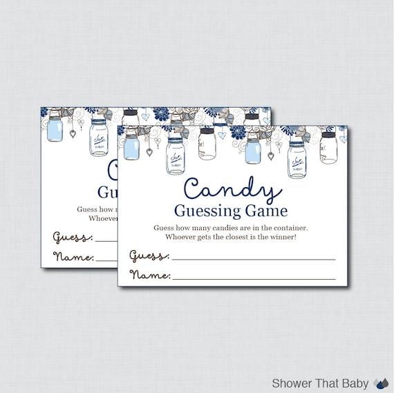 blue mason jar baby shower candy guessing game printable. Black Bedroom Furniture Sets. Home Design Ideas