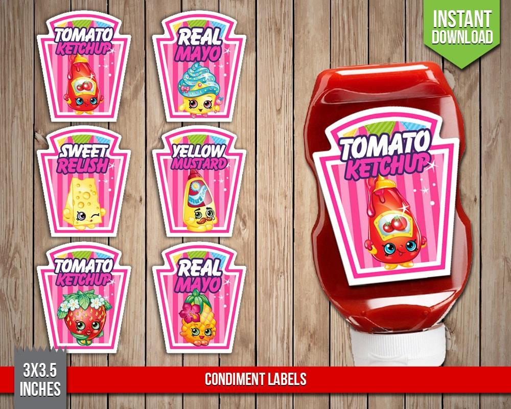 SHOPKINS Condiment Labels Shopkins Condiments Shoppies Heinz