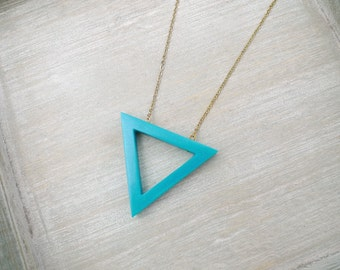 Long necklace, triangle necklace, Teal pendant necklace, Geometric necklace