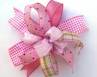 Pink Spring bow for wreaths, Easter basket bow, lantern bows, holiday bows, wedding bows, spring holiday decor