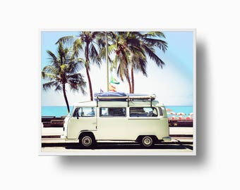 Retro Van Print, VW Bus print, Camper Print, Coastal Prints, VW Bus Retro Van, Old Car Photo, Beach Print, California Wall Art,