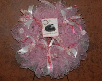 Love at First Sight Deco Mesh wreath with picture frame for baby picture.