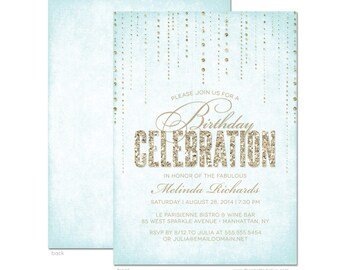 Glitter Look Birthday Party Invitations - DIY Printable or Printed Invitations