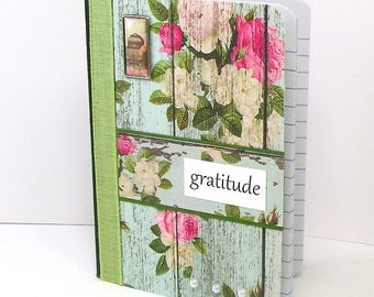 Gratitude journal, Gratitude notebook, Blessings note book, Thanks, Grateful, Mini notes, Cabbage roses, Floral print, white pearls