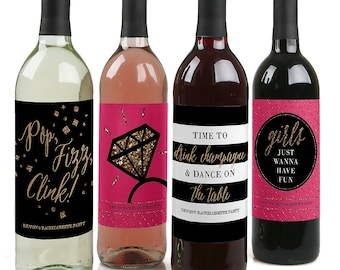 Girls Night Out - Bachelorette Party Custom Wine Bottle Labels for Bachelorette Parties - Set of 4 Personalized Sticker Labels