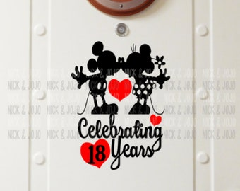 Personalized Mickey & Minnie Anniversary- Disney Cruise Magnets - Door Magnets