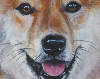Shiba Inu art CANVAS print of LA Shepard painting 8x8 dog portrait