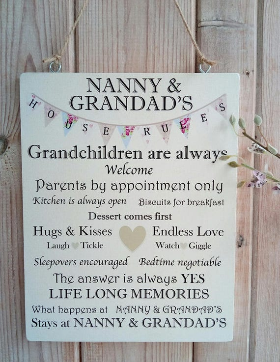 Nanny and grandad house rules wooden plaque home decor stopboris Choice Image