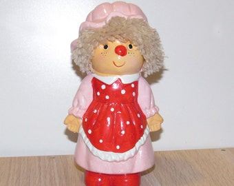 Pink and Red Vintage Kitschy Girl Coin Bank Made in Taiwan