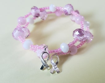 Hope Ribbon Breast Cancer Awareness Beaded Glass Floral Bracelet