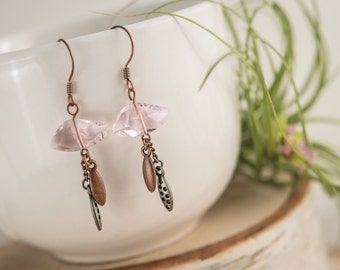Purple crystal and copper earrings, lilac crystal, oval lavender crystal earrings