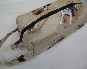 Summer Love Beach Dog Cosmetic Bag Makeup Bag LARGE