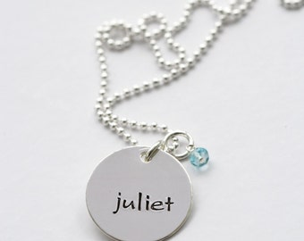Personalized Name Necklace, Full Name Tag Necklace, Sterling Silver Mommy Necklace, Push Present, New Mom Necklace, Hand Stamped Jewelry