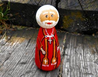 Saint Nicholas Peg Doll, Santa Miniature, Saint Nicholas, Santa Claus, Catholic Saint Miniature, Bishop of Myra, Nikolaos, Peg Doll Santa