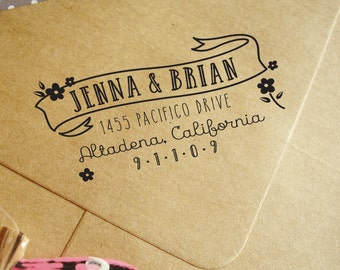 Custom rubber stamp, custom rubber address stamp with flowers and banner