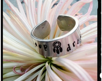 Keep Dreaming - Cuff Ring - Choose Your Size//Adjustable//14 Guage Quality Aluminum//Dreamcatcher & Star Stamps -Native American/Boho/Gypsy