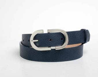 Leather Belt, Blue Leather Belt, Dark Blue Leather Belt, Navy Blue Leather Belt, Womens Belt